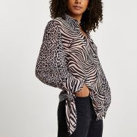 River Island Brown animal print tie shirt – mixed prints – women's shirts with ties at the cuff