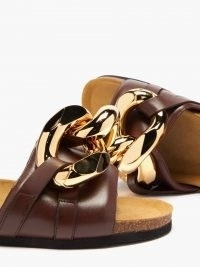 JW ANDERSON Chain leather slides in brown ~ chunky chain detail mules