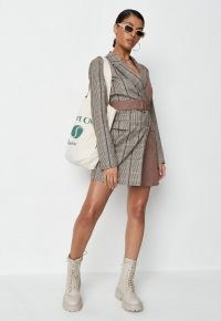 MISSGUIDED brown check two tone belted blazer dress ~ checked jacket dresses with belts