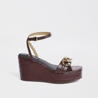 RIVER ISLAND Brown gold chain detail wedge heels / ankle strap animal effect wedges