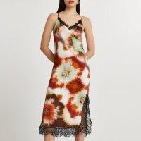 River Island Brown lace slip dress | side slit cami dresses
