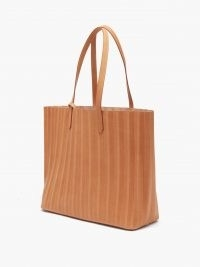 MANSUR GAVRIEL Pleated leather tote bag ~ brown pleat detail shopper