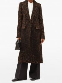 MARINA MOSCONE Chocolate-brown single-breasted leopard-print coat