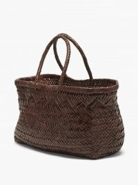 DRAGON DIFFUSION Brown Triple Jump large woven-leather tote bag