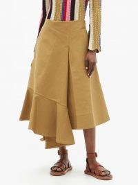 COLVILLE Voulant asymmetric cotton-twill skirt ~ contemporary brown flared skirts