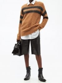 ACNE STUDIOS Brushed intarsia-striped sweater in brown
