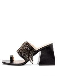 NODALETO Bulla Preston crystal-embellished black leather mules