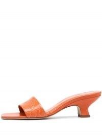 BY FAR Ceni crocodile-embossed mules / orange croc effect kitten heel mule