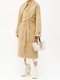 JW ANDERSON Beige exaggerated-collar suede trench coat / luxe tie waist coats