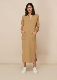 WHISTLES POLO NECK KNIT DRESS – camel brown dresses – effortless style clothing