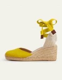 Boden Cassie Espadrille Wedges Chartreuse | bright summer wedge heel espadrilles