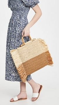 Caterina Bertini Natural Camel Straw Tote – neutral fringed summer bags
