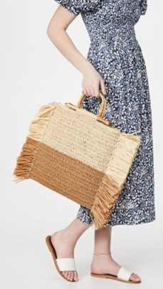 Caterina Bertini Natural Camel Straw Tote – neutral fringed summer bags - flipped