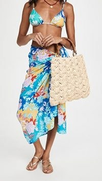 Caterina Bertini Straw Bamboo Handle Tote / summer bags