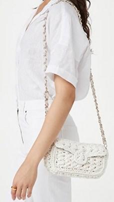 Caterina Bertini White Woven Crossbody Bag – raffia gold chain strap flap bags - flipped