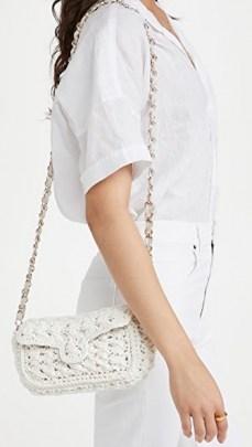 Caterina Bertini White Woven Crossbody Bag – raffia gold chain strap flap bags