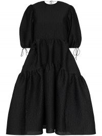 Cecilie Bahnsen Lara tiered midi dress ~ black romantic-style full dresses