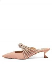AQUAZZURA Celeste 45 crystal-knot faille mules – pink kitten heels