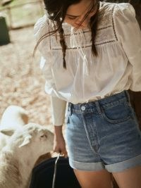 REFORMATION Charlie Cuffed High Rise Jean Shorts ~ summer denim