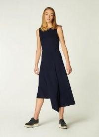 L.K. BENNETT CHERIE NAVY JERSEY ASYMMETRIC HEM DRESS ~ dark blue sleeveless draped dresses