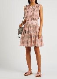 CHLOÉ Pink floral-print silk-georgette mini dress ~ feminine sleeveless dresses