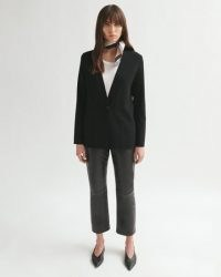 JIGSAW CLEAN KNIT POCKET JACKET ~ black minimal single button jackets
