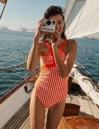 Boden Corsica Swimsuit Coral And Ivory Stripe   bright retro swimsuits   vintage look swimwear