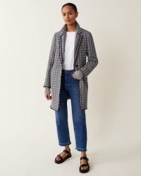 JIGSAW COTTON BOUCLE COLUMN COAT / blue textured coats