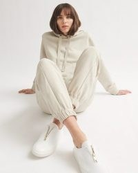 JIGSAW COTTON BOYFRIEND HOODIE Stone ~ neutral pullover hoodies
