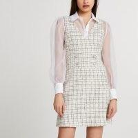 RIVER ISLAND Cream boucle pinafore mini dress / sheer sleeve textured fabric dresses