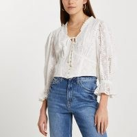 River Island Cream broderie corset crop blouse top ~ romantic frill trim tops ~ floral cut out blouse