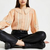 River Island Cream collar lace trim blouse top – romantic style blouses with cut out details and oversized collars