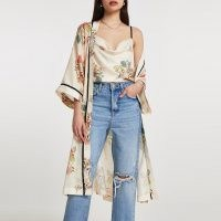 RIVER ISLAND Cream floral cami longline duster 2 piece set ~ satin style fashion co-ords ~ jacket and camisole sets