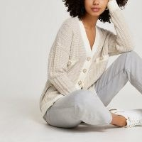River Island Cream tweed knit cardigan | chic textured cardigans