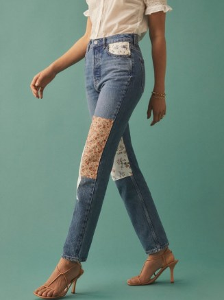 Reformation Cynthia Linen Patch High Rise Straight Jeans | patched denim