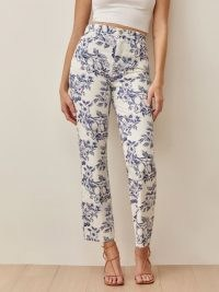 Reformation Cynthia Toile High Rise Straight Jeans in Monaco | floral denim
