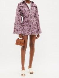 THE ATTICO Dakota logo-print cotton-canvas dress ~ pink wide sleeve utility dresses