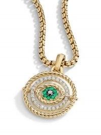 David Yurman 18kt yellow gold diamond emerald Evil Eye amulet enhancer pendant ~ green gemstone pendants