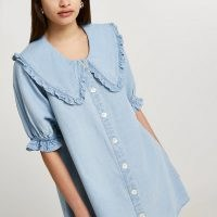River Island Denim oversized collar shift dress | frill trim dresses