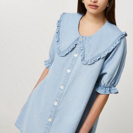 River Island Denim oversized collar shift dress   frill trim dresses - flipped