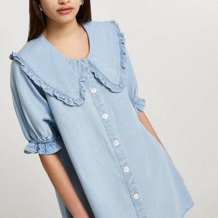 River Island Denim oversized collar shift dress   frill trim dresses