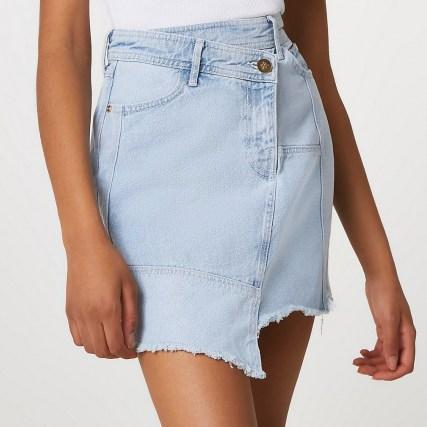 River Island Denim raw hem mini skirt | casual asymmetric skirts - flipped