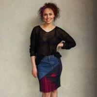 You by Tokarska Denim Skirt Amelia Fuchsia / patchwork skirts