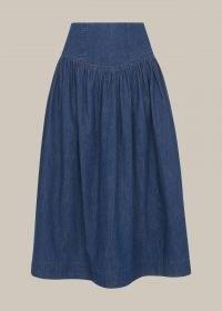 WHISTLES ZIP DETAIL CHAMBRAY MIDI SKIRT – denim summer skirts