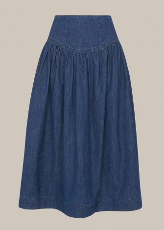WHISTLES ZIP DETAIL CHAMBRAY MIDI SKIRT – denim summer skirts - flipped