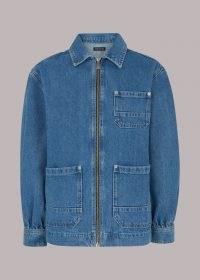 WHISTLES ZIP FRONT DENIM CARGO JACKET ~ oversized organic cotton jackets