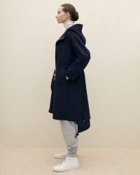 JIGSAW DOUBLE FACE OVERSIZED PARKA Navy ~ chic dark blue hooded coats ~ contemporary parkas