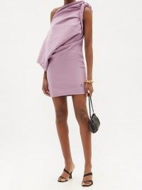 THE ATTICO Draped one-shoulder cotton-jersey mini dress ~ gathered pink evening dresses