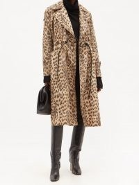 VICTORIA BECKHAM Drawstring-waist leopard-print shell coat ~ glamorous water-resistant coats