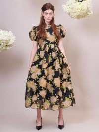 sister jane DREAM Floral Clover Jacquard Midi Dress ~ romantic puff sleeve fit and flare dresses